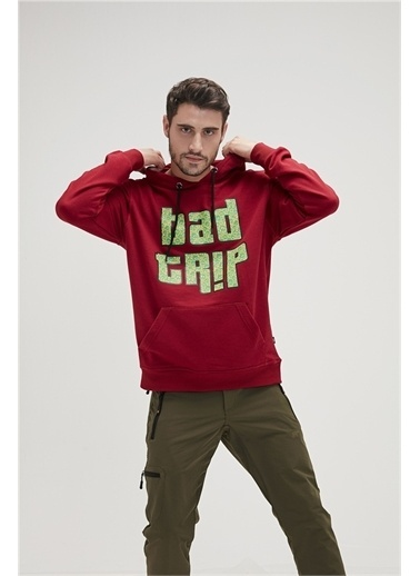 Bad Bear Erkek Kirik Beyaz Sweatshirt Bad Trip Hoodie Bordo
